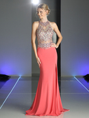 CD-CK72 Jeweled Bodice Form Fitted Evening Dress with Train, Coral