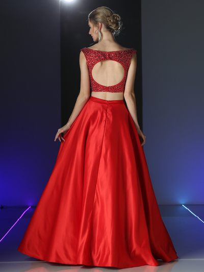 CD-CK76 Two Piece Embellished Prom Evening Dress with Full Skirt - Red, Back View Medium