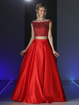 CD-CK76 Two Piece Embellished Prom Evening Dress with Full Skirt, Red