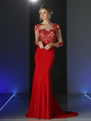 CD-CL106 Sheer Three Quarter Sleeve Long Evening Dress, Red