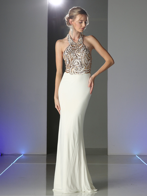 CD-CM1511 Sequined Halter Top Evening Dress, Off White