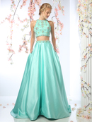 CD-CP802 Two Piece Beade Top Prom Dress, Sage Green