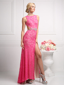 CD-CP807 Lace Evening Dress with Open Back, Hot Pink