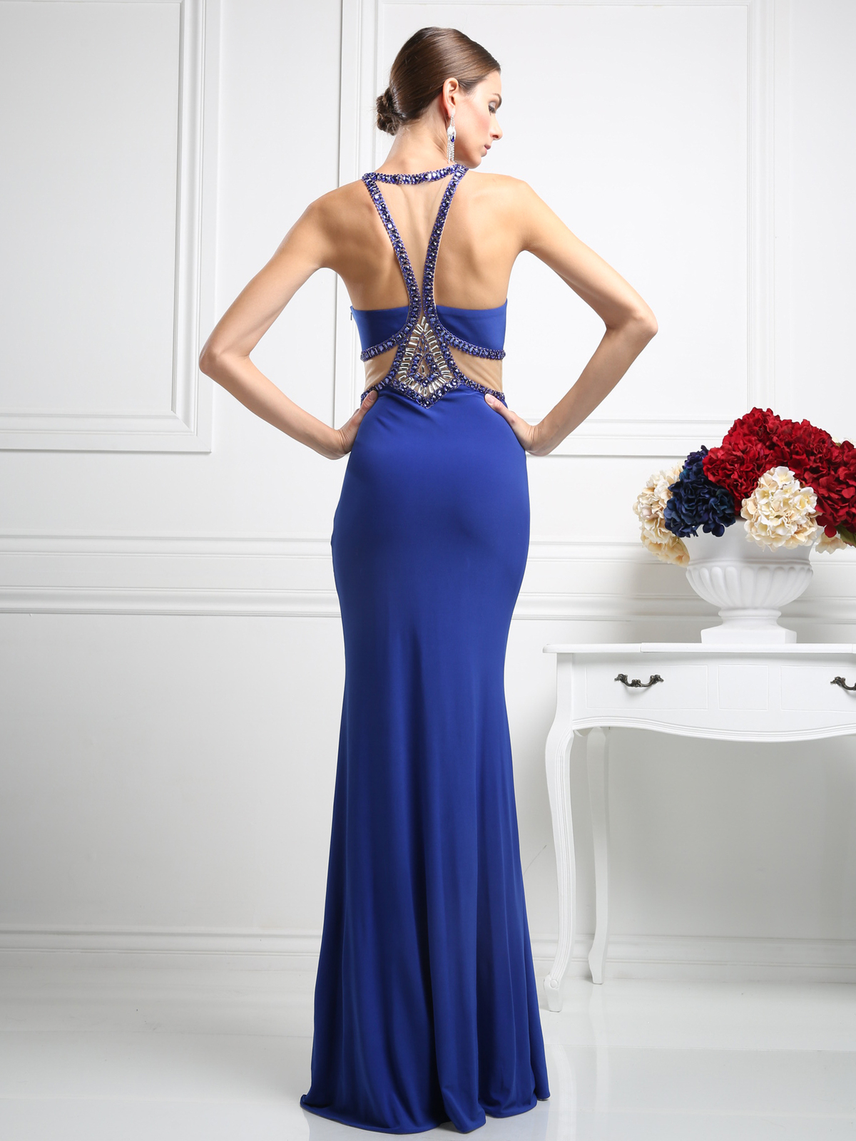 Halter Top Evening Dress With Sheer Cut Out Sung