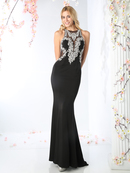 CD-CR701 Beaded A-line Evening with Train, Black