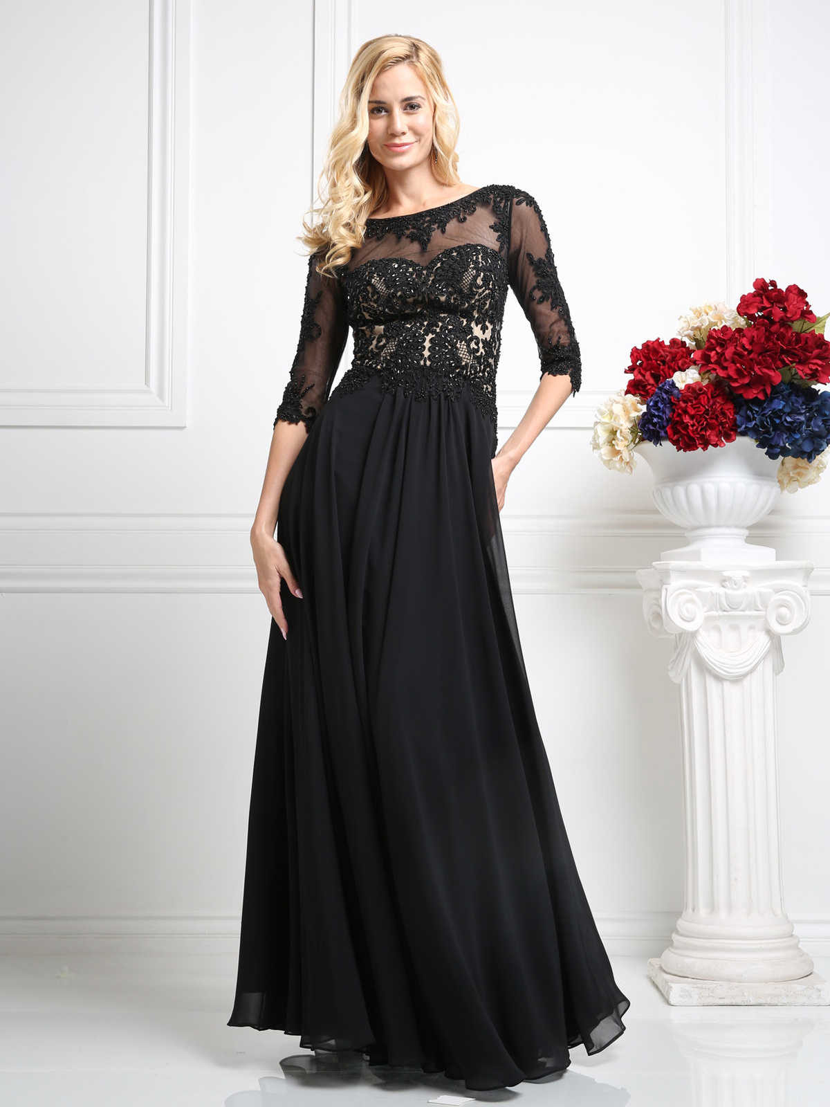 Lace Appliqued Mother Of The Bride Evening Dress Sung