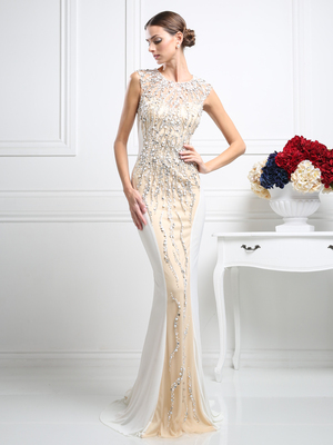 CD-CR704 Two Toned Fitted Evening Gown with Beading, Off White