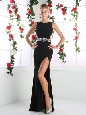 CD-CR710 Boatneck Cut Out Evening Dress with Slit, Black