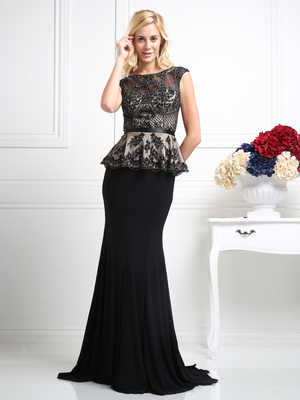CD-CR718 Bateau Neckline Lace Bodice Evening Dress , Black