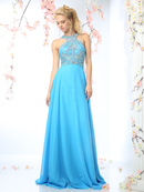 CD-CR730 Halter Top Beaded Evening Dress, Perry Blue
