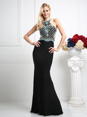 CD-CR733 Open back with lined beading , Black