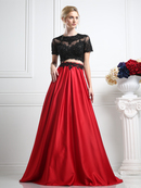 CD-CR747 Short Sleeve Embellished Top Formal Gown, Red Black