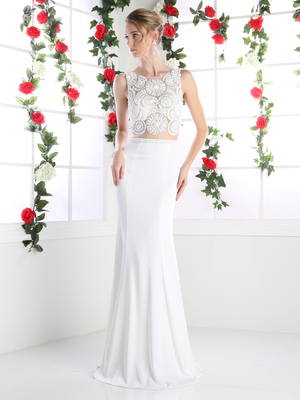 CD-CR748 Mock Two Piece Bridal Dress with Beaded Top, Ivory