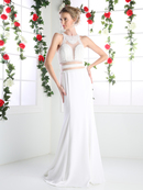 CD-CR749 Mock Two Piece Bridal Evening Dress with Pearl Beading, Ivory