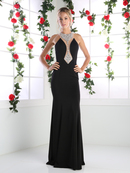 CD-CR751 Long Evening Dress with Plunging Neckline, Black