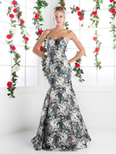 CD-CR762 Strapless Floral Print Trumpet Gown, Blue