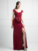CD-DS317 Mock Two Piece Mother-of-the-Bride Dress, Burgundy