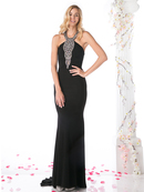 CD-J727 Halter Top Evening Dress with Split , Black