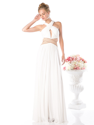CD-J728 Halter Evening Dress with Key Hole, Off White
