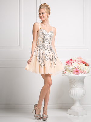 CD-J745 Sequins Short Prom Dress with Straps, Peach
