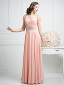 CD-J746 Sleeveless Evening Dress with Jeweled Detail , Blush