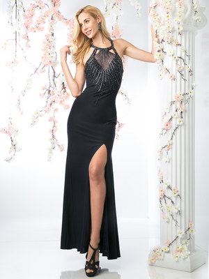 CD-J747 Halter Top  Evening Dress with Slit, Navy