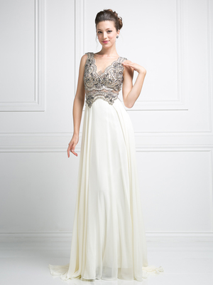 CD-J748 Illusion V-Neck Evening Dress with Sheer Back, Cream
