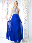 CD-J749 Halter Embellished Evening Dress, Royal