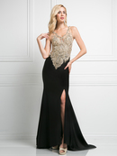 CD-J750 Sleeveless V-Neck Evening Dress with Slit, Black Gold