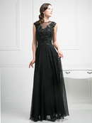 CD-J751 Sheer Neckline Embellished Evening Dress, Black