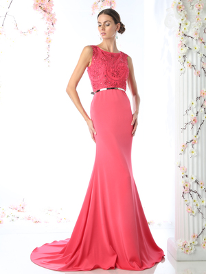 CD-J754 Sheer Beaded Evening Dress with Metal Belt, Fuchsia