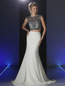 CD-J755 Two piece Sleeveless Beaded Prom Evening Dress, Ivory
