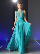 CD-J758 Flowing Chiffon Evening Dress with Illusion Bodice, Mint
