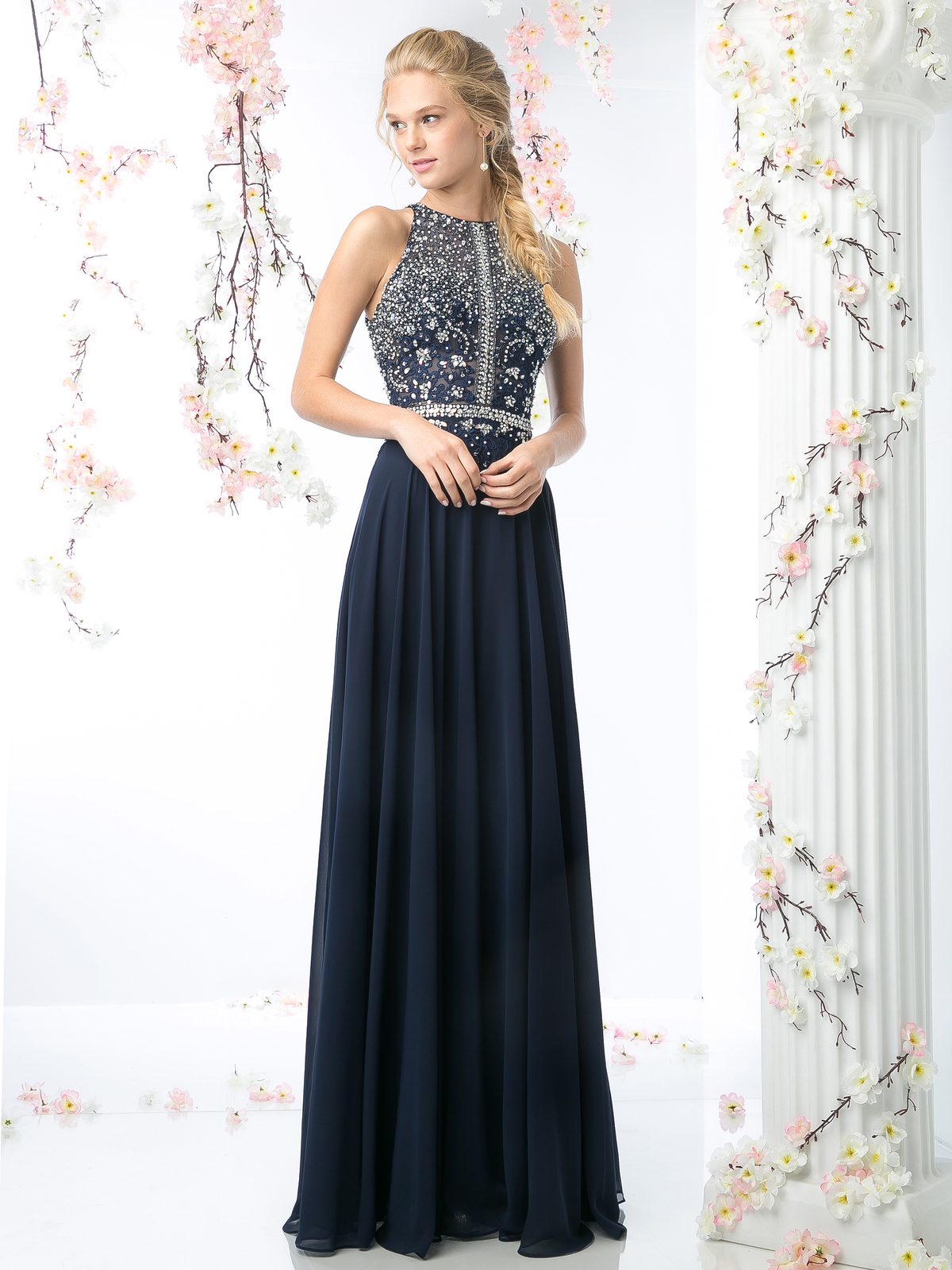 High Neck Beaded Top Prom Dress | Sung Boutique L.A.