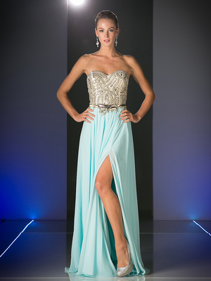 CD-JC3780 Prom gown with Metal Floral Belt, Sky Blue Gold