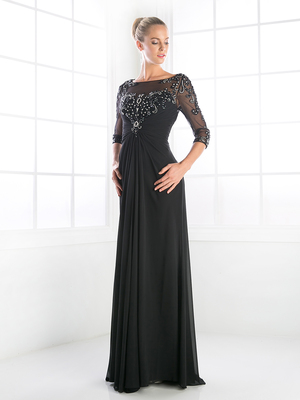 CD-JC4206 3/4 Length Sleeve Mother-of-the-Bride Dress, Black