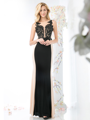CD-JC4289 Two Toned Sleeveless Evening Dress, Black Nude