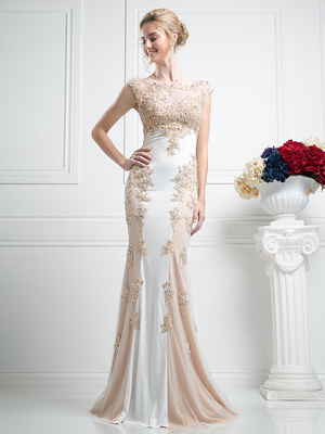 CD-JC4295 Two Tone Capped Sleeves Evening Dress with Applique, Ivory Gold