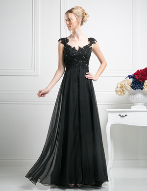 CD-JC931 A-line Evening Dress with Sheer Back, Black