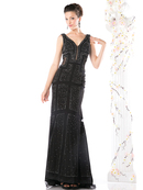 CD-KC002 Sleeveless V-neck Beaded Evening Dress , Black