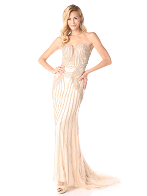 CD-KD008 Form Fitting Evening Gown with beading, Gold