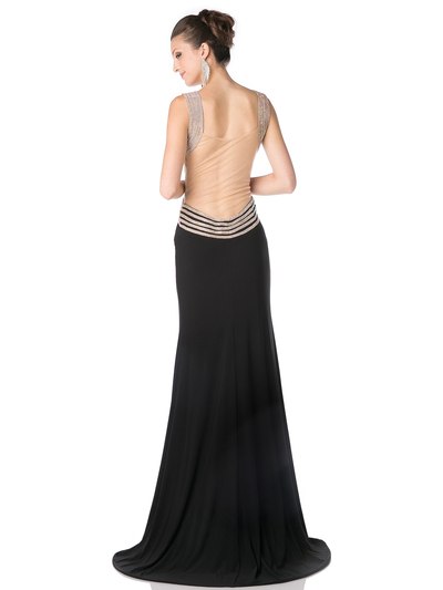 CD-KD009 Sleeveless Illusion Embellished Evening Dress  - Black, Back View Medium