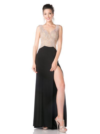 CD-KD009 Sleeveless Illusion Embellished Evening Dress  - Black, Front View Medium