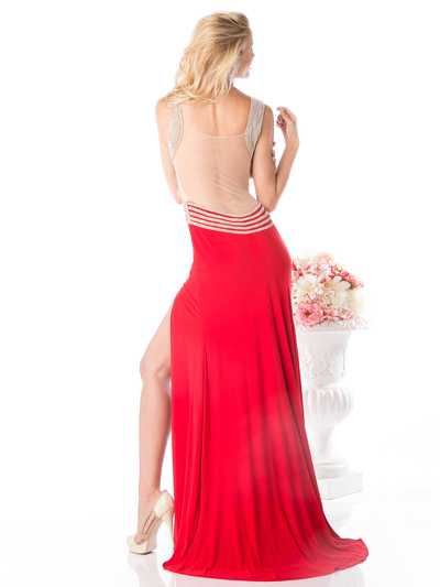 CD-KD009 Sleeveless Illusion Embellished Evening Dress  - Red, Back View Medium