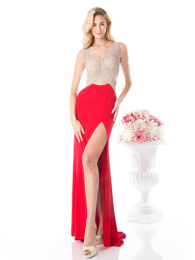 CD-KD009 Sleeveless Illusion Embellished Evening Dress  - Red, Front View Medium