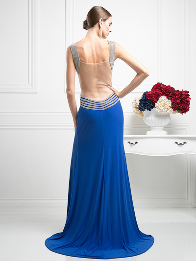CD-KD009 Sleeveless Illusion Embellished Evening Dress  - Royal, Back View Medium