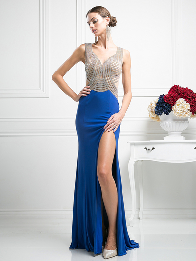 CD-KD009 Sleeveless Illusion Embellished Evening Dress  - Royal, Front View Medium