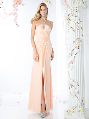 CD-KD011 Halter Neck Twisted Ruching Evening Dress, Peach