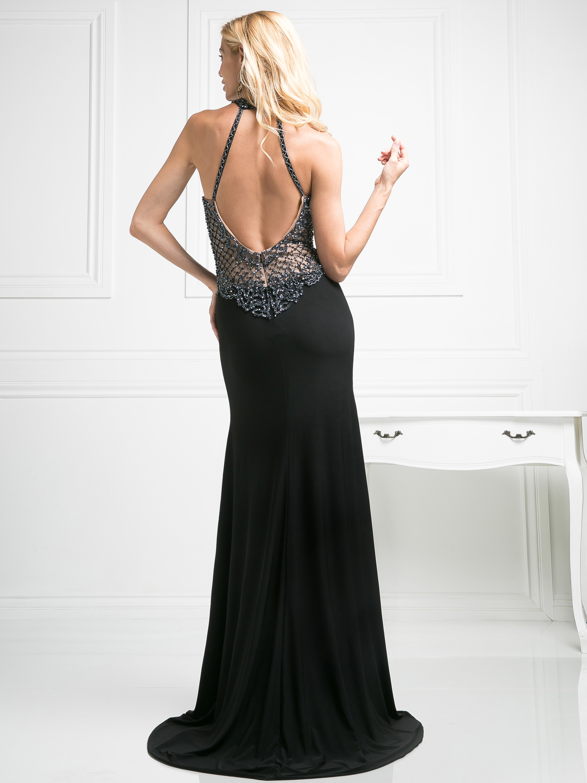 Halter Beaded Top Backless Gown With Train Sung Boutique