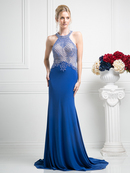 CD-KD012 Halter Beaded Top Backless Gown with Train, Royal